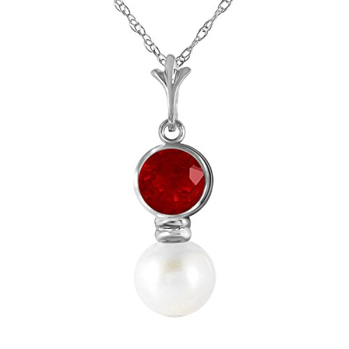 123-Carat-14k-Solid-White-Gold-Necklace-with-Natural-Ruby-and-Freshwater-cultured-Pearl