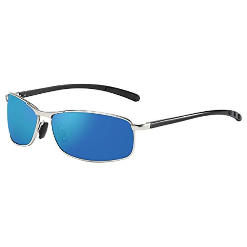 ZHILE Rectangular Polarized Sunglasses Al-Mg Alloy Temple Spring Hinge UV400 (Silver, Blue mirrored)