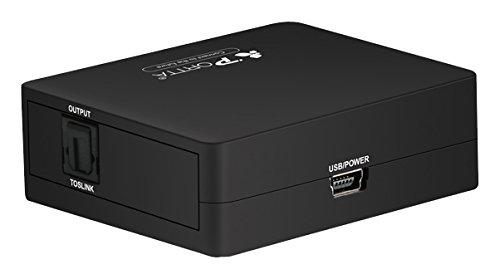 Portta Audio Convertidor Coaxial a Toslink Digital Coaxial SPDIF Apoyo 2.1 CH 5.1 CH, EAN, Negro, Conversor de Audio