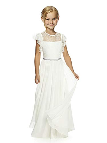 Wedding Pageant Flower Girl Dresses lace Girl Dress with Multi-Colored Bow Tie Sash 02 Silver sash