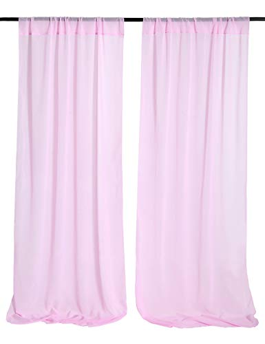 Pink Chiffon Backdrop Drapes 4.8ftx6.5ft Fabric Backdrop for Birthday Party Wall Decoration