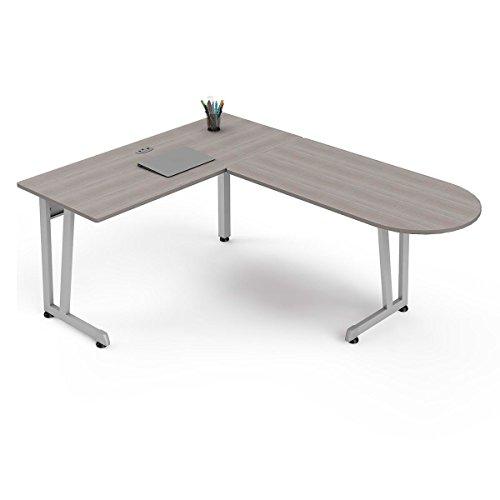 Ash Office Table - Linea Italia ZUD120S Workstation Corner, Ash/Gray