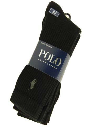Polo Ralph Lauren men's socks Classic Casual Rib black 3 pairs (Rib Classic Dress Sock)