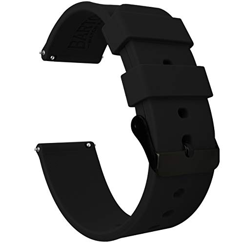 Barton Silicone - Black Buckle - 16mm, 18mm, 20mm, 22mm or 24mm - Black 22mm Watch Band Strap ()