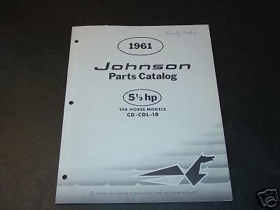1961 JOHNSON OUTBOARD MOTOR PARTS CATALOG 5 1/2 - Parts Johnson Catalog Motor