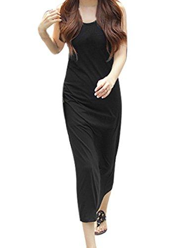 Damen U-ausschnitt Dehnbar Reines Schwarz Pullover Kapuzen-kleid XS - Schwarz, Damen, XS 32