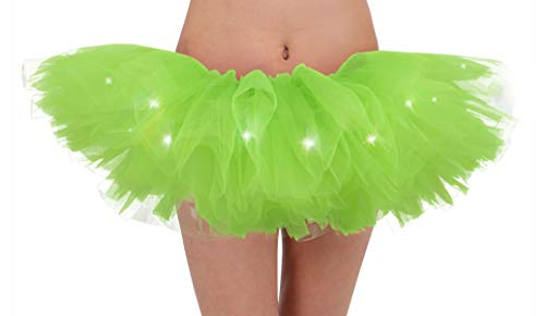 Simplicity Women's LED Light Up Neon Tulle Tutu Skirt Running Tutu,Fluorescent Green -