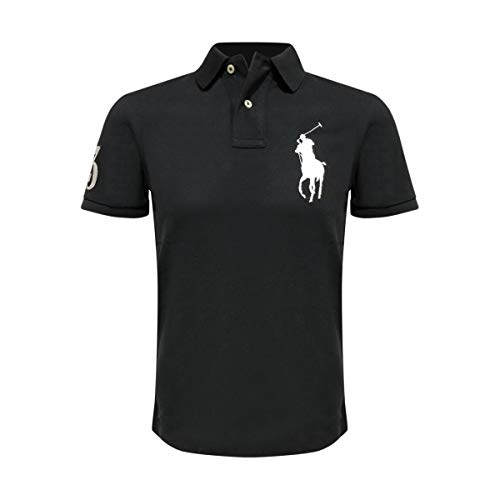 (Ralph Lauren Mens Big Pony Custom Slim Fit Mesh Shirt (Large, Black/White Pony))