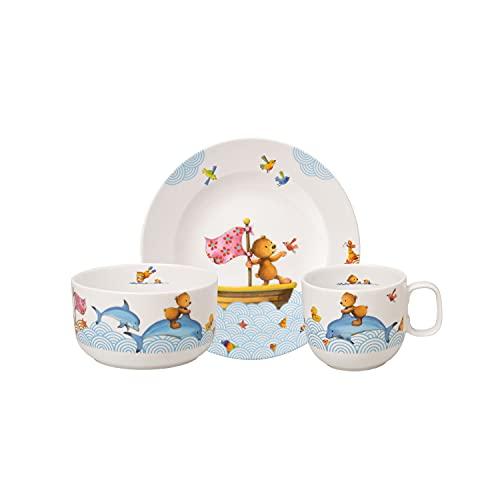 Villeroy & Boch Happy as a Bear Vajilla infantil, 3 piezas, Porcelana Premium, Blanco/Multicolor
