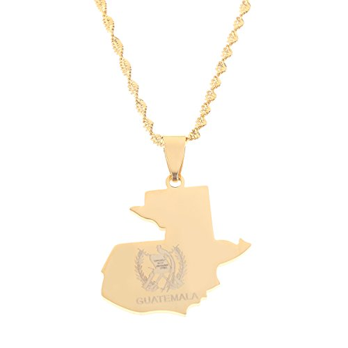 Stainless Steel Guatemala Map Flag Pendant Necklace for Women Men Jewelry Map of Guatemala (Gold Color)