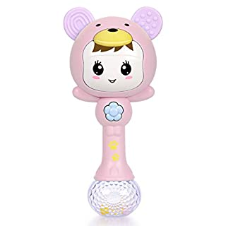 Refasy Baby Boy Toys 12-24 Months, Children Newborn Gift Best Gifts for 1 2 3 Year Olds Music Interactive Baby Rattles Teethers Infant Teething Toys 6 to 12 Months Boy Baby Toys 0-6 Months Girls Pink