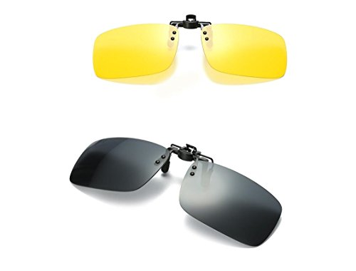 Polarized Day Night Vision Flip-up Clip-on Lens Driving Glasses Sunglasses (Yellow (night)+Black( - Frames Through See Eyeglass