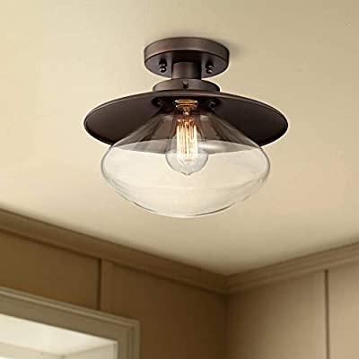 "Harlow Farmhouse Ceiling Light Semi Flush Mount Fixture Bronze 12"" Wide Clear Glass for Bedroom Kitchen Living Room Hallway Bathroom - 360 Lighting"