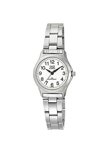 Q&Q QC197J204Y - Reloj Digital para Mujer, Acero Inoxidable, Esfera Blanca, Color Plateado
