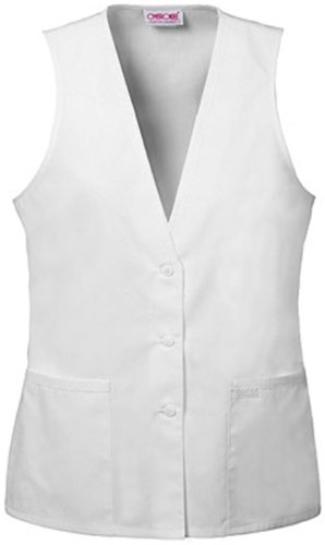 Cherokee Professional Whites by Cherokeewomen's Button-Front Vest Solid Scrub Top