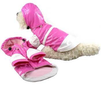 Pet Life DPF34503 PVC 2-Tone Raincoat with Removable Hood for Dog, Small, Pink/White