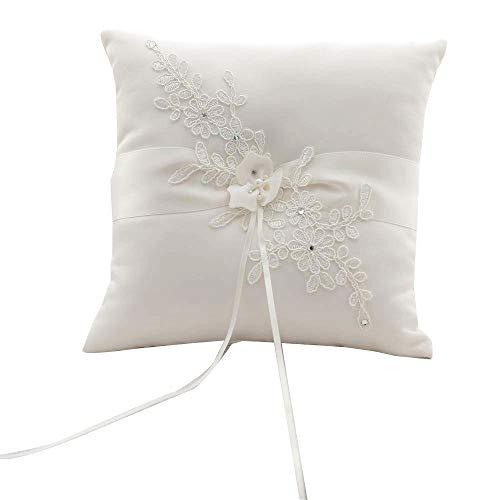 Awtlife Flower Wedding Ring Pillow Ivory Cushion Bearer For Beach wedding 8.26 Inch ()