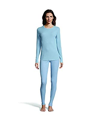 Hanes Women's Long Sleeve Thermal Waffle Knit Crew with FreshIQ and X-Temp Technology