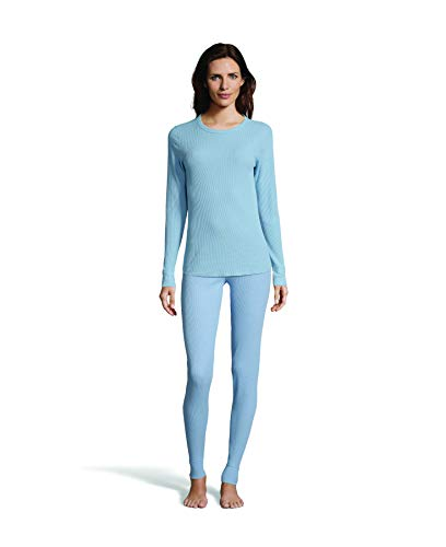 Hanes Women's Long Sleeve Thermal Waffle Knit Crew with FreshIQ and X-Temp Technology Dusty Blue