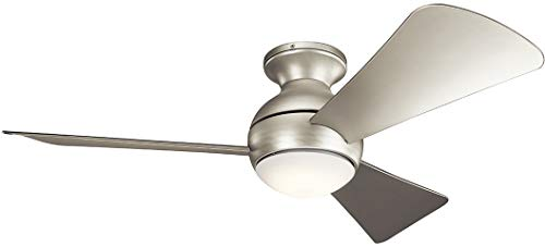 Bellacor Plastic Sconce - Kichler 330151NI 44 Inch Sola Ceiling Fan LED, 3 Speed Wall Control Full Function, Brushed Nickel Finish with Silver Blades