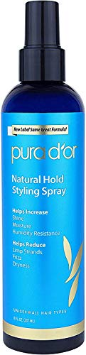 - PURA D'OR Natural Hold Volumizing Styling Hair Spray for Added Volume, Infused with Aloe Vera Biotin & Natural Ingredients, 8 Fl Oz