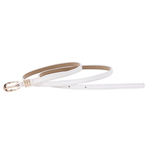 Skinny White Womens Belt Buckle Keeper Belts Damara Waist Metal Prong Elegant wO4RExEU