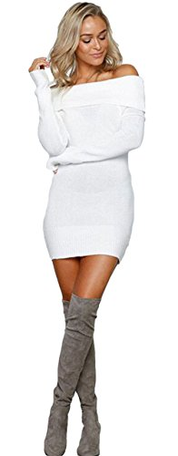 ALAIX Womens Sexy Off Shoulder Long Sleeve Pencil Bodycon Knitted Sweater Mini Dress Pullover
