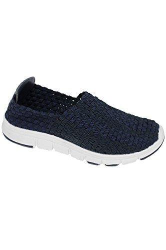 Saphir Boutique flk014 Maverick Damen leichter Bequeme Schuhe elastisch Turnschuhe Marine