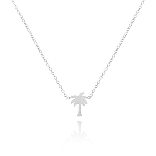Palm Necklace Silver Tree - MUZHE Stainless Steel Palm Coconut Tree Charm Pendant Necklace for Women,Cute Jewelry for Girls (Silver)