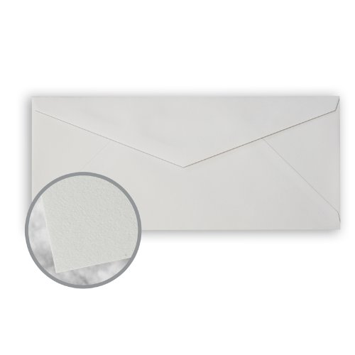CRANE'S CREST Moonstone Grey Envelopes - No. 10 V-Flap (4 1/8 x 9 1/2) 24 lb Writing Wove 100% Cotton Watermarked 500 per Box by Neenah