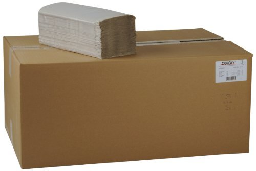 Quicky Paper Hand Towels Single-Ply with ZZ-Fold 25?x 23?cm, Natural, 5000?Sheets by Quicky