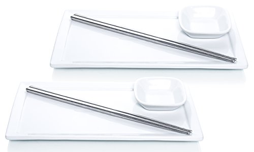 (Tableau 6-Piece Sushi Dinner Set for Two, Includes Soy Sauce Plates, and Stainless Steel Chopsticks)