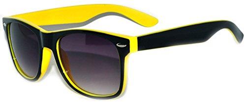 Vintage Two Tone - Black - Yellow Sunglasses Retro 80's Smoke Lens - Black Yellow Sunglasses And