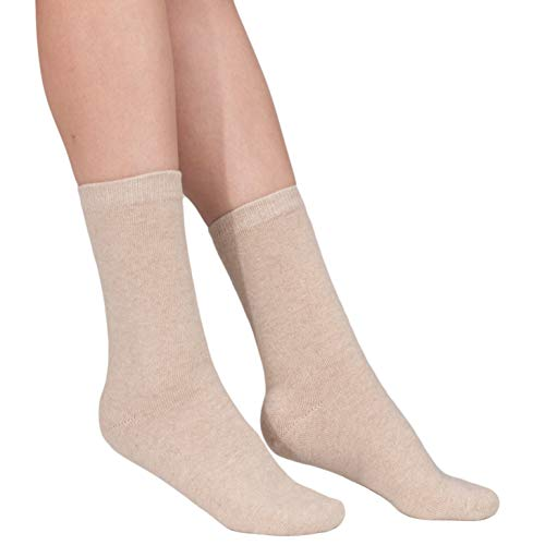 100% Cashmere Socks – Pure Cashmere Socks for Women (Sand Beige, XL)