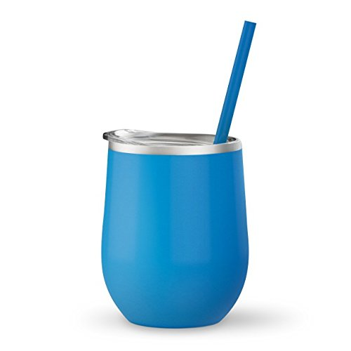 Aqua - 12 oz Stainless Steel Wine Tumbler Sippy Cup with Lid and Straw