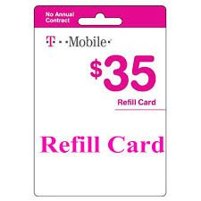 T-mobile $35 Prepaid Refill Card Monthly Plan / Pay As You Go No Annual Contract (Mail Delivery)
