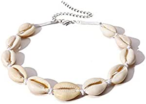 Women's Cowrie Shell Necklace Adjustable Shell Choker Necklace - White