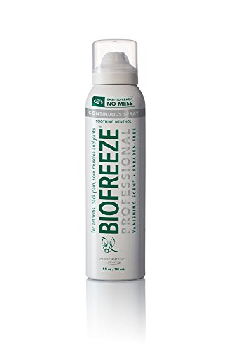 Biofreeze Professional Pain Relieving Spray,Topical Analgesic for Enhanced Relief of Arthritis, Muscle, Joint Pain, NSAID Free Pain Reliever Cream, 4 oz. 360° Spray, Colorless Formula, 10.5% (Pain Relieving Spray)