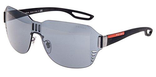 PRADA LJ SILVER 05S Matte Rubber Black Shield Mirrored Sunglasses PS05SS ()