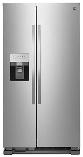 Price comparison product image Kenmore 25 cu. ft. Side-by-Side Refrigerator with Water and Ice Dispenser and Kenmore 5.4 cu. ft. Self Clean Electric Range with Convection Oven and Turbo Boil Element bundle,  both in Stainless Steel,  includes delivery and hookup