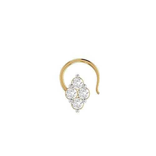 2heart D/VVS1 Diamond Marquise Frame Round 14K Gold Fn Nose Piercing Ring Stud Pin 14k Yg Frame