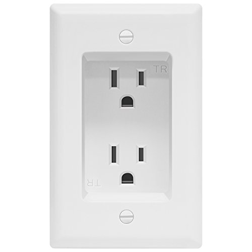 TOPGREENER TG15RD31 Recessed Duplex Receptacle Power Outlet, Tamper-Resistant, Residential Grade 125VAC/ 15A, 1-Gang White Wall Plate Housing (1-Gang Single)