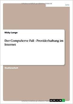 Book Der CompuServe Fall - Providerhaftung im Internet