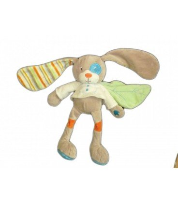 Doudou peluche gris beige feuille verte TEX Baby Carrefour 27 cm