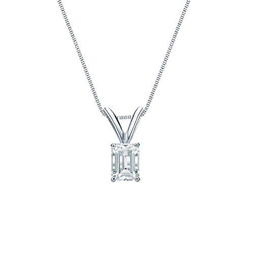 14k White Gold 4-Prong Basket Emerald-Cut Diamond Solitaire Pendant (1/3 cttw, G-H, SI1-SI2)