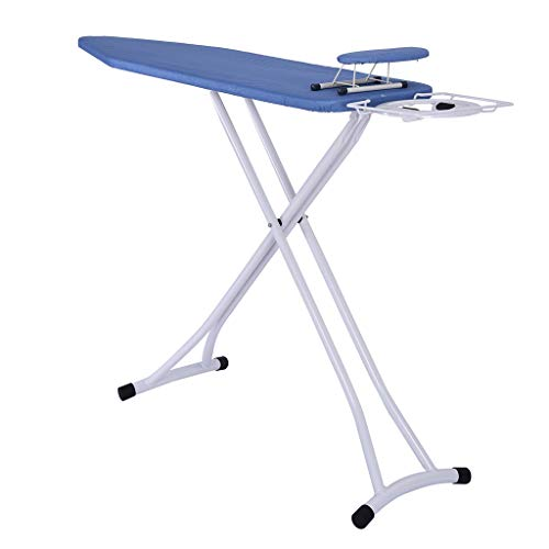 (Sodoop Ironing Board, 48x15 inch Foldable Adjustable Home Ironing Board with Blue Patterned Cotton Cover, Steam Iron Rest US Stock)