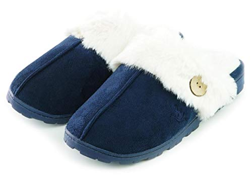 Womens 80-D Memory Foam Slippers Slip On Faux Fur Warm Winter Mules Fluffy Micro Suede Breathable Washable Indoor/Outdoor House Shoe w/Anti Slip Sole (Large / 9-10 B(M) US, Navy Blue)