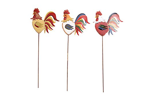 Y&K Decor Home Decor Garden Rooster Family Yard Stake Set of 3