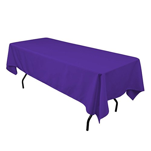 (Gee Di Moda Rectangle Tablecloth - 60 x 84 Inch - Purple Rectangular Table Cloth 5 Foot Table in Washable Polyester - Great Buffet Table, Parties, Holiday Dinner, Wedding & More)