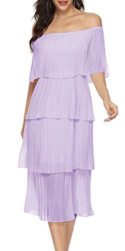 - ETCYY Women's Off The Shoulder Maxi Dress Chiffon Ruffles Tiered Pleated Casual Midi Dress Purple